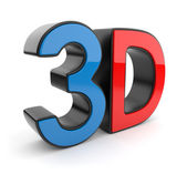 3D symbol of stereoscopic cinema. Icon isolated on white backgro — Zdjęcie stockowe