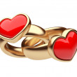 Gold two ring with red heart 3D. Love concept. Isolated on white — Stock Photo