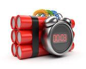 時計タイマー付き爆弾 3 d。カウント ダウン。白で隔離されます。 — ストック写真