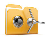 Data security concept. Yellow folder and lock. 3D isolated on wh — Stock Photo