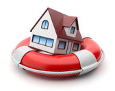 House in lifebuoy. Property insurance concept. Isolated on white — Stock Photo