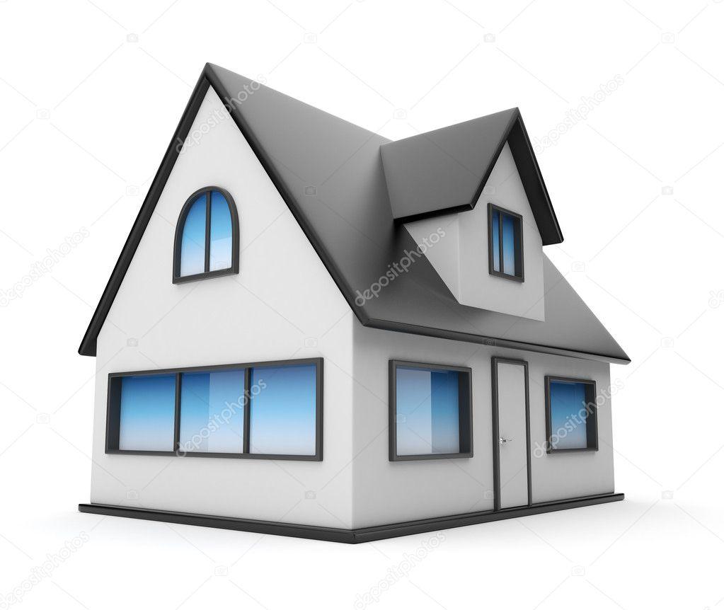 ein kleines haus symbol 3d isoliert auf wei em hintergrund stockfoto flashdevelop 9645181. Black Bedroom Furniture Sets. Home Design Ideas