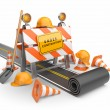 Under construction of road 3D. Build concept. 3D illustration is — Stock Photo #9929551