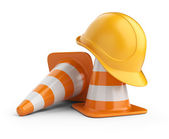 Traffic cones and hardhat. Road sign. Icon isolated on white bac — Stock Photo