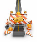 Under construction of road 3D. Build concept. 3D illustration is — Stock Photo
