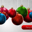 Christmas Banner with Colorful Globes | EPS10 Vector Background - Stock Vector