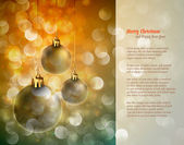 Christmas Background with Shiny Globes and Sparkling Lights | Gr — Stock Vector