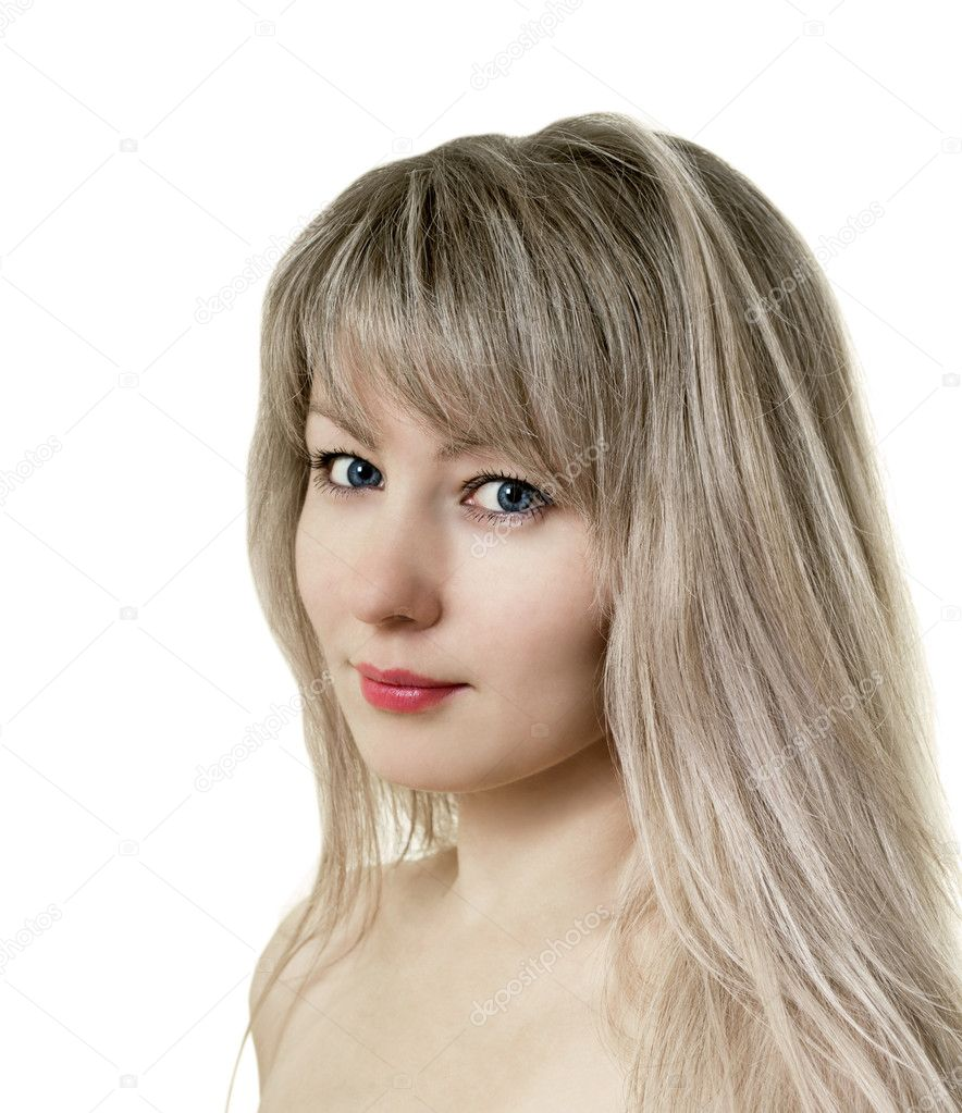 Portrait of a beautiful girl on a white background — Stock Photo #8457179