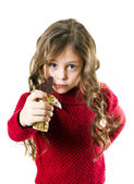 Girl with chocolate bar — Stock Photo