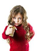 Girl with chocolate bar — Stock Photo