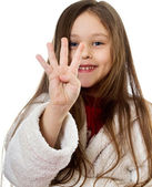 Girl shows four fingers — Stock Photo
