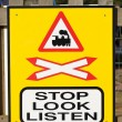 Stock Photo: Stop, Look, Listen Sign at Railway Crossing