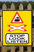 Stop, Look, Listen Sign at a Railway Crossing — Stock Photo