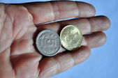 Two 5rupee indian coin — Stock Photo