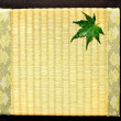 Japanese green maple leaf on tatami mat — Stock Photo #10067713