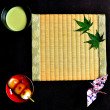 Japanese cake,Green tea, and Tatami mat — Stock Photo