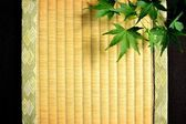 Japanese green maple leaf on tatami mat — Stok fotoğraf