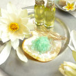 White water lily and Asian spa supplies — Stock Photo