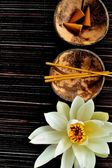 White water lily with incense — 图库照片