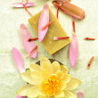 Water lily with natural soap - Stok fotoğraf