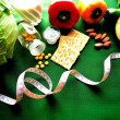 Vegetable,diet food with tape measure - Stok fotoğraf