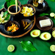 Asian tropical flowers,herb and spa supplies - Stock Photo