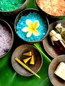 Colorful bath salt with Asian spa supplies — Stock Photo