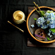 Blue hydrangea with incense - Stock Photo
