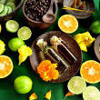 Citrus fruit and Asian spa supplies — Stock Photo