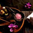 Purple orchid and Asian spa supplies — Stock Photo #9698922