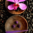 Purple orchid with incense — Stock Photo