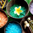 Colorful bath salt with plumeria — Stock Photo #9717555