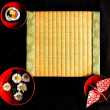 Sushi,mum,origami and tatami mat — Stock Photo