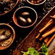 Spice on coffee beans background. — Stock Photo #9725392