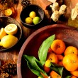 Stock Photo: Citrus fruits and aromatherapy supplies