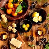 Citrus fruits and aromatherapy supplies — Stockfoto