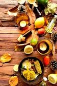 Aromatherapy supplies with fall leaves — Foto Stock
