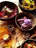 Potpourri with candle — Stock Photo