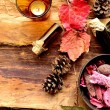 Aromatherapy supplies with fall leaves — Stock Photo