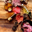 Aromatherapy supplies with fall leaves - Foto de Stock  