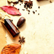 Autumn leaves and aromatherapy supplies — Stock Photo