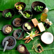 Asian spa supplies on banana leaf - Stock Photo