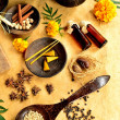 Marigold with Asian spa supplies — Stock Photo