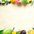 Tropical fruits with Balinese offering - Stock Photo