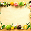 Tropical fruits with Balinese offering frame - Stock Photo