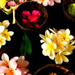 Balinese Hindu offerings and plumeria — Stock Photo