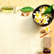 Plumeria and spa supplies - Stock Photo