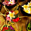 Asian tropical flower with Balinese Hindu offering — Stock Photo