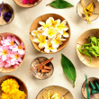 Asian tropical flowers with incense - Stock Photo