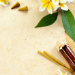 plumeria and spa supplies — Stock Photo